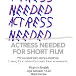 Looking for an actress for a short film in english – Projecto Amador